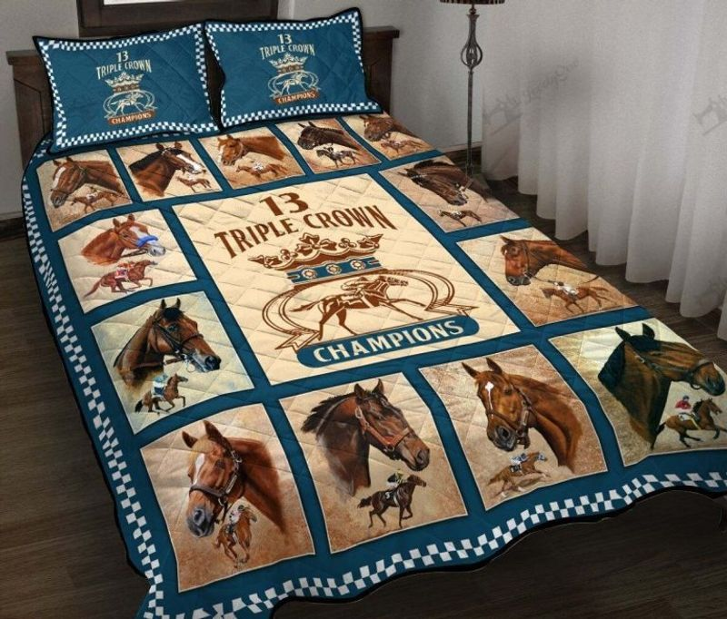 Triple crown of champions horse quilt bedding set 4