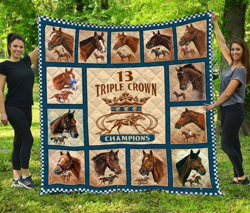 Triple crown of champions horse quilt bedding set