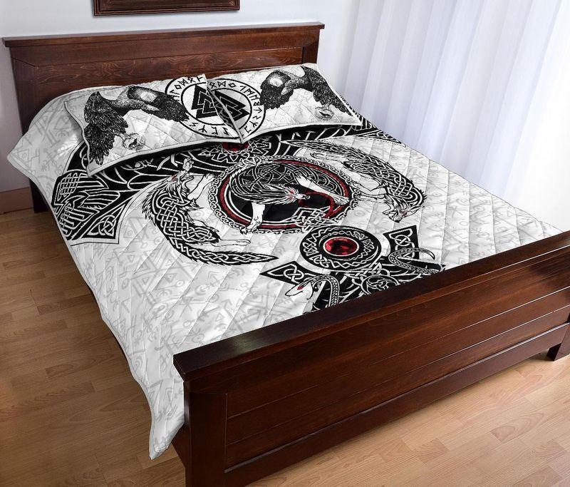 Viking Odins ravens fenrir skoll and hati valknut quilt bedding set 3