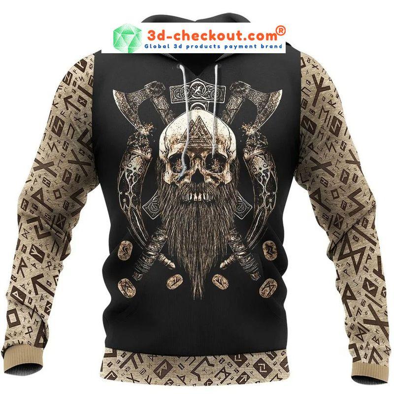 Viking skull beard Valhalla 3D hoodie