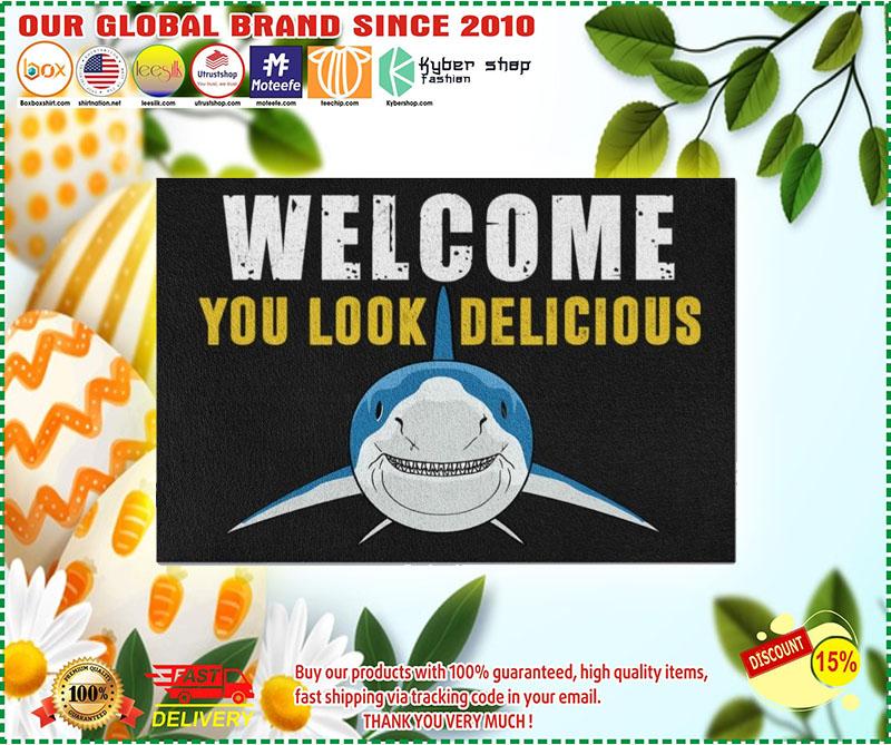 Welcome you look delicious shark doormat 3