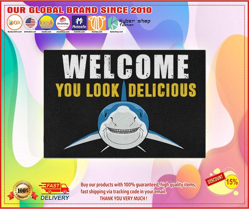 Welcome you look delicious shark doormat 4