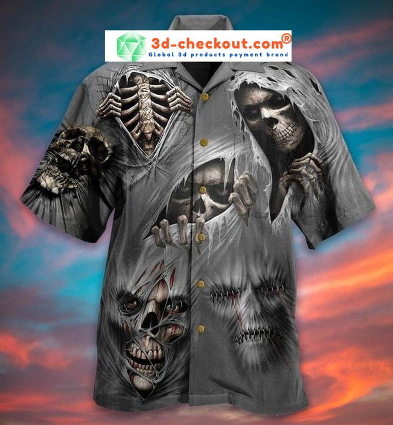What scares you excites me skull hawaiian shirt