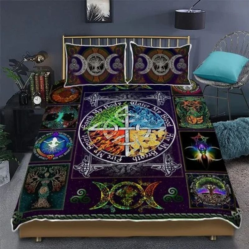 Wiccan witch pagan quilt bedding set 1