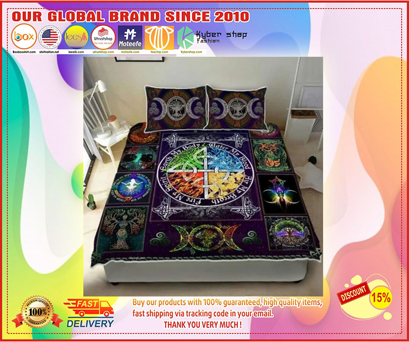 Wiccan witch pagan quilt bedding set 3