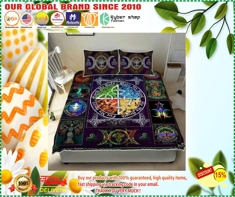 Wiccan witch pagan quilt bedding set 4