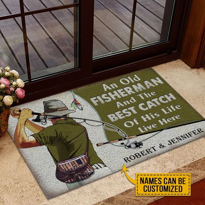 An old fisherman and the best catch custom name doormat