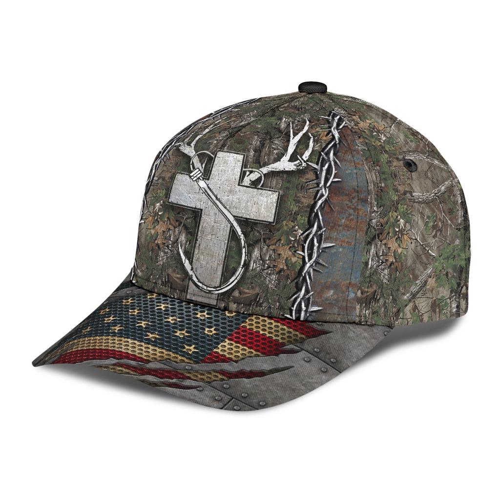 Cross American flag christian hunting fishing cap 3