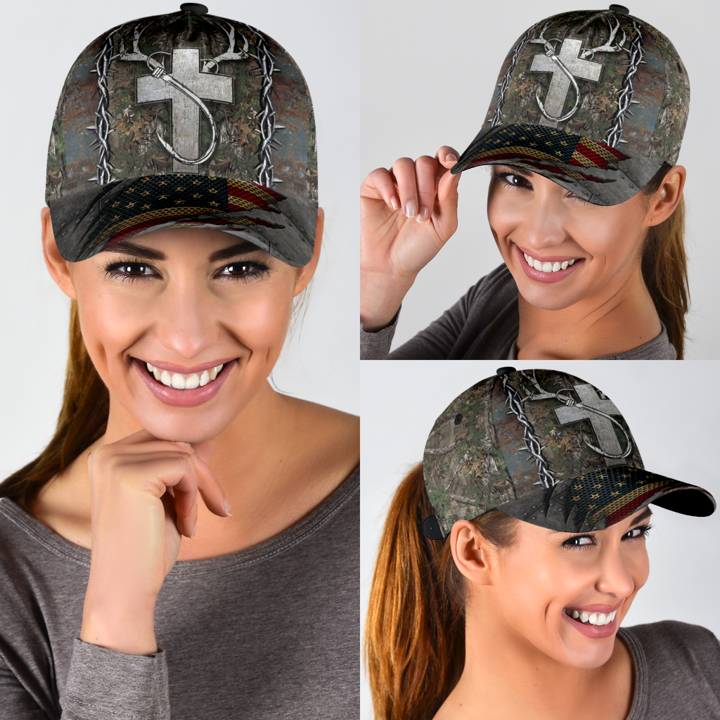 Cross American flag christian hunting fishing cap c4