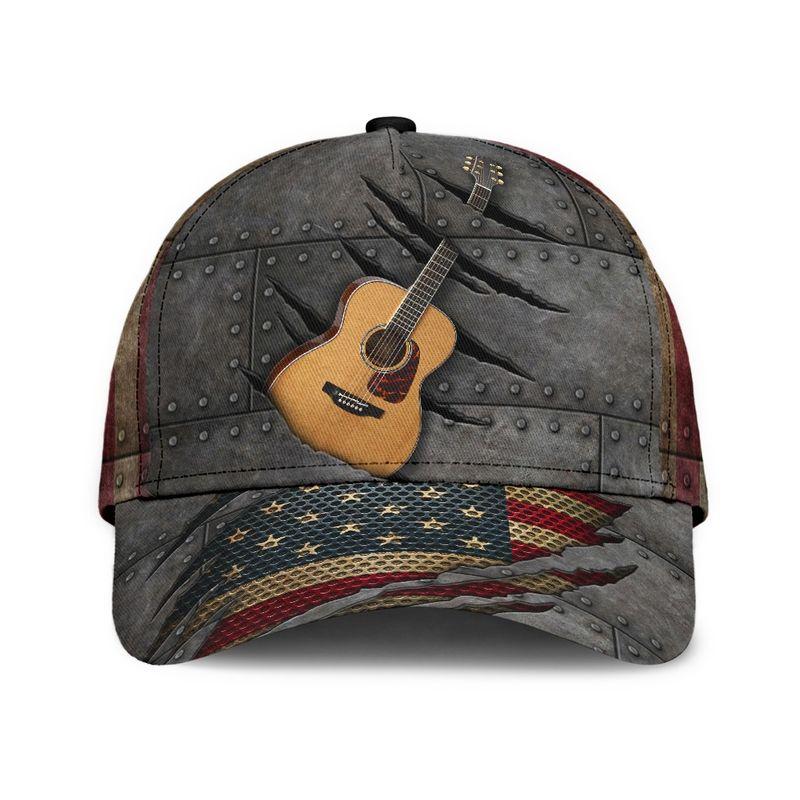 Guitar American flag cap