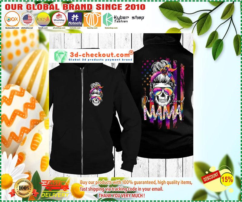 Skull colorful American flag one loved mama 3d hoodie 2