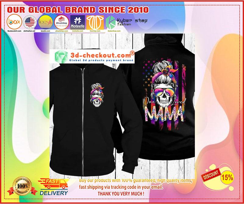 Skull colorful American flag one loved mama 3d hoodie 3