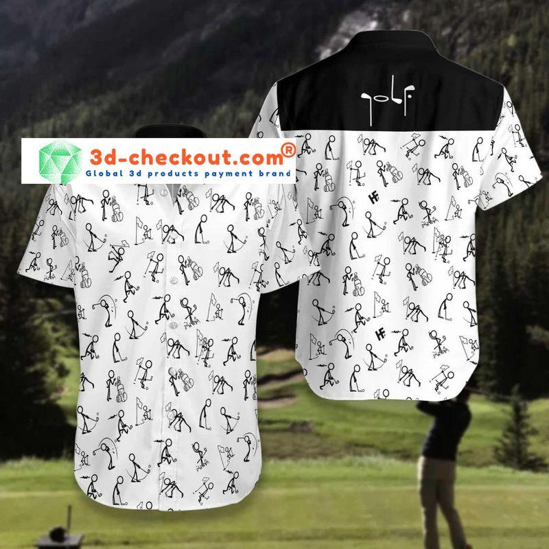 Stickfigures playing golf hawaiian shirt3