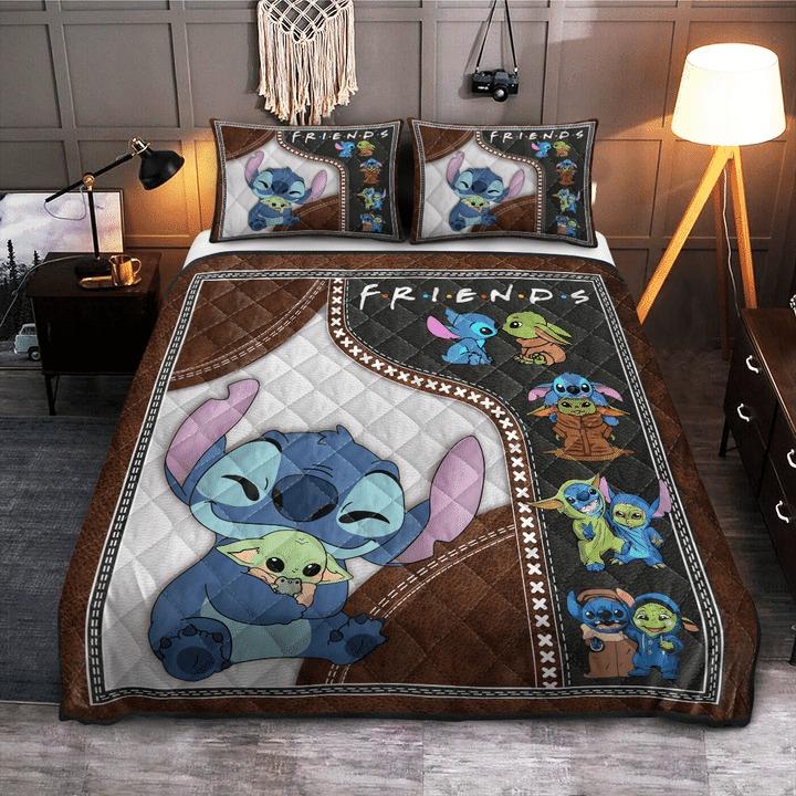 Stitch and baby Yoda friend quilt bedding set