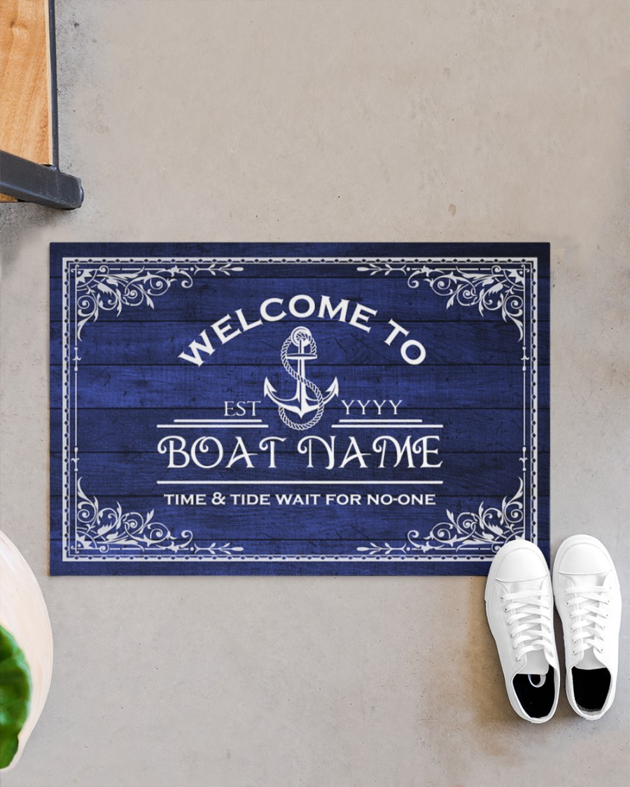 Welcome to time and tide wait for no one boat custom name doormat4