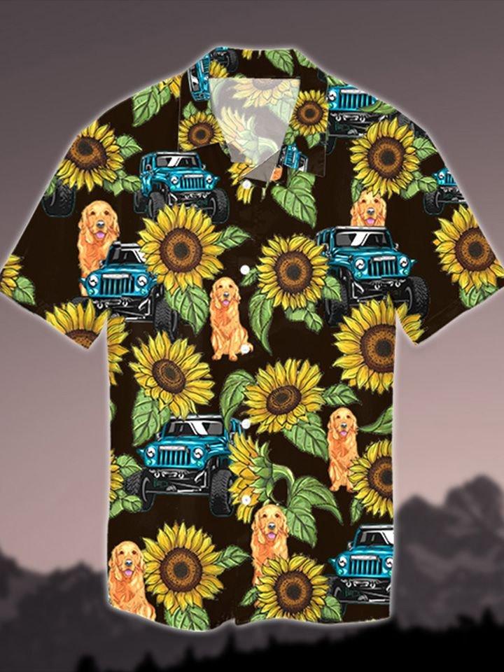 Jp Dog and Jp Sunflower Hawaiian Shirt and Short1