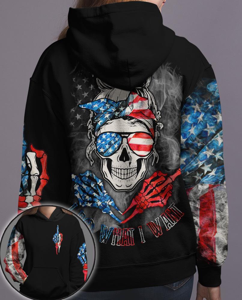 Skull O Holic American Flag AI Do What I Want 3D Hoodie