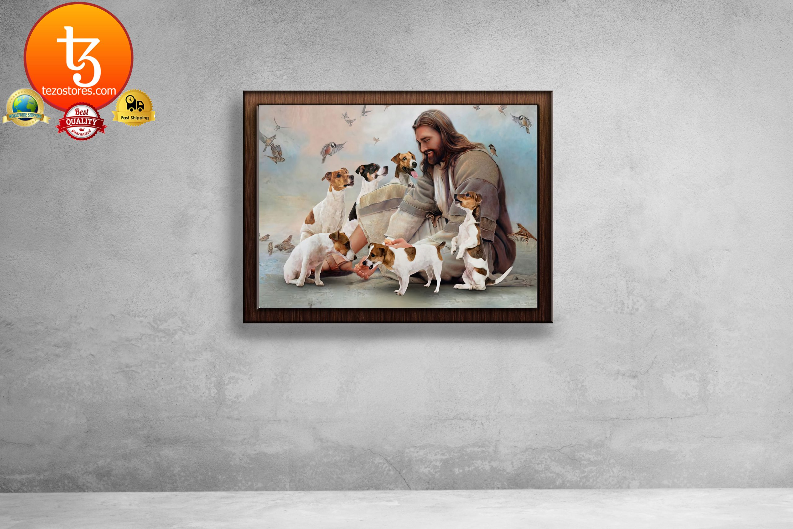 God surrounded by Pug angels Poster1