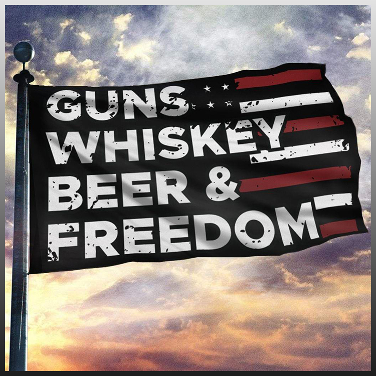 Gun whiskey beer and freedom flag 2