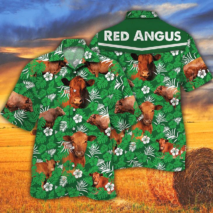 Red Angus Green Floral Hawaiian Shirt