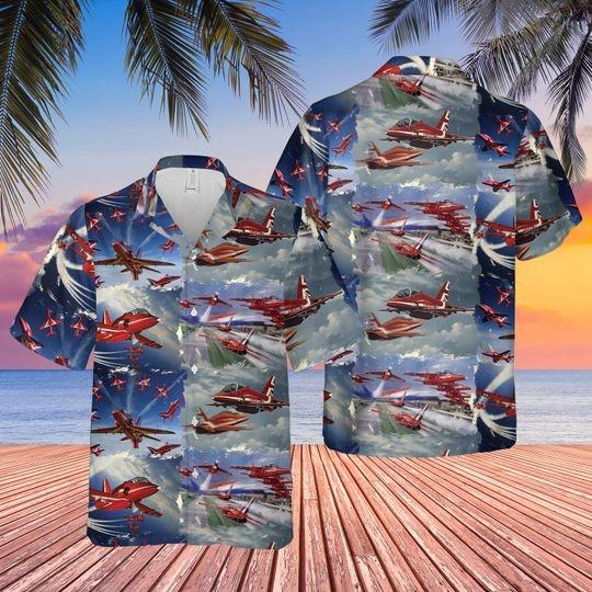 Red arrows air show hawaiian shirt 1