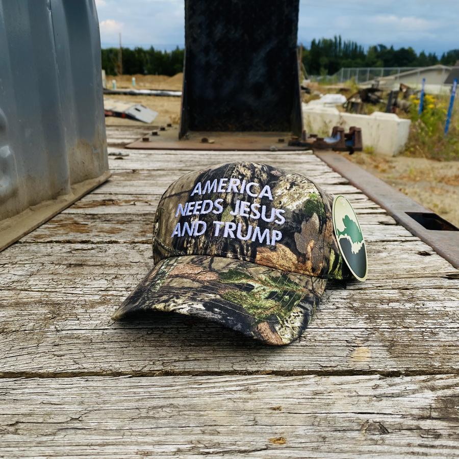 America Needs Jesus And Trump Mossy Oak Camo Hat cap 1