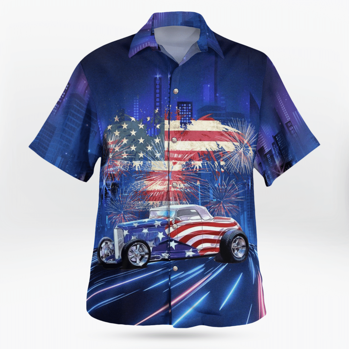 American flag and hot rod Hawaiian shirt 1