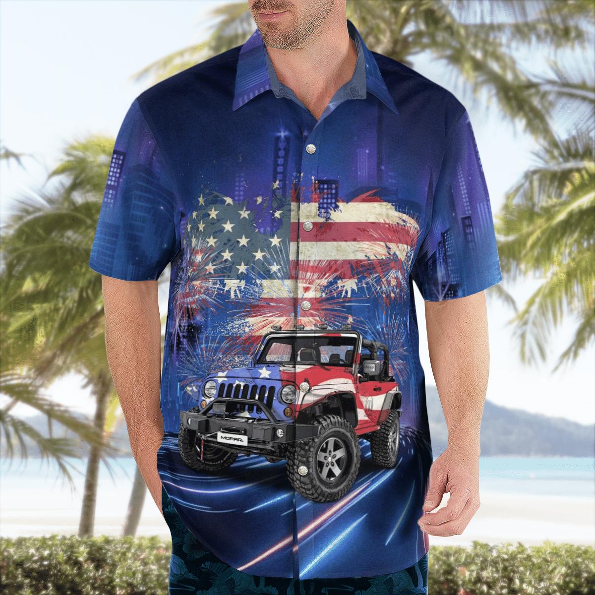 American flag and jeep Hawaiian shirt 2