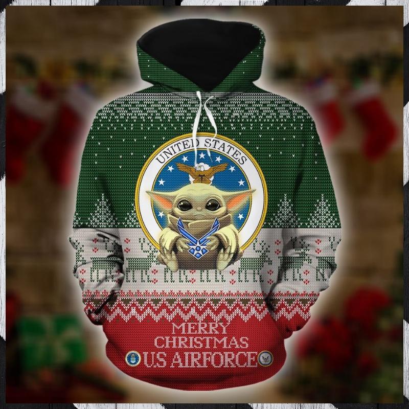 Baby Yoda Merry Christmas US Airforce 3d hoodie 1