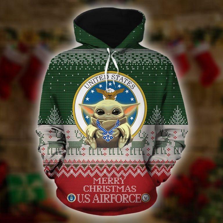 Baby Yoda Merry Christmas US Airforce 3d hoodie