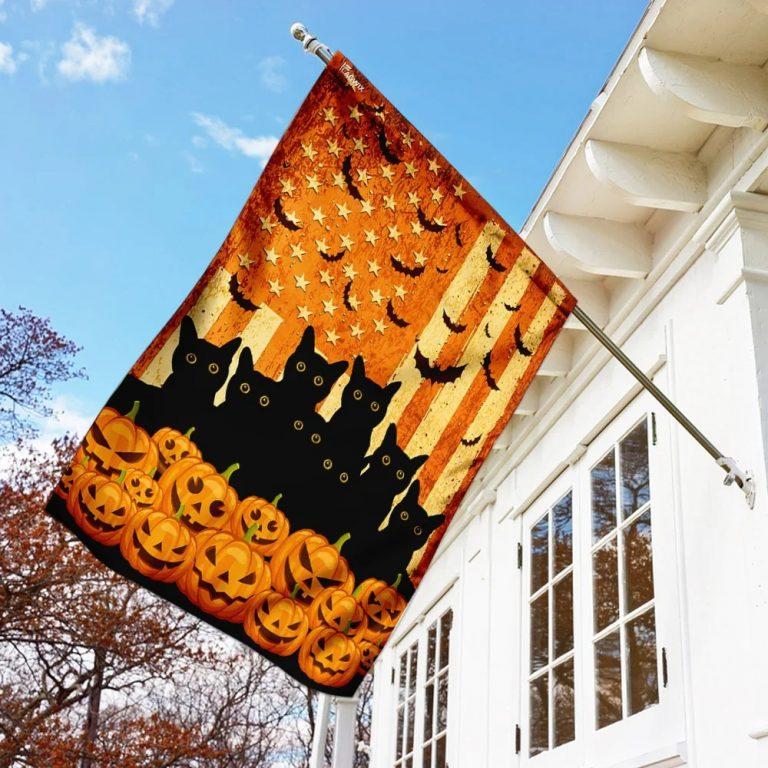 Black cat pumpkins Halloween flag 1