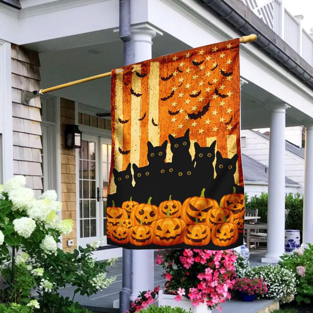 Black cat pumpkins Halloween flag 4