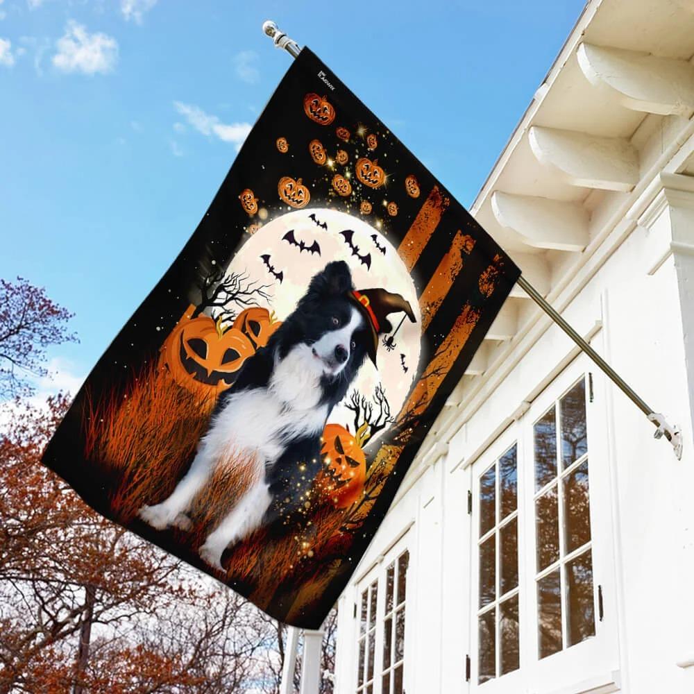 Border Collie pumpkins Halloween flag 2