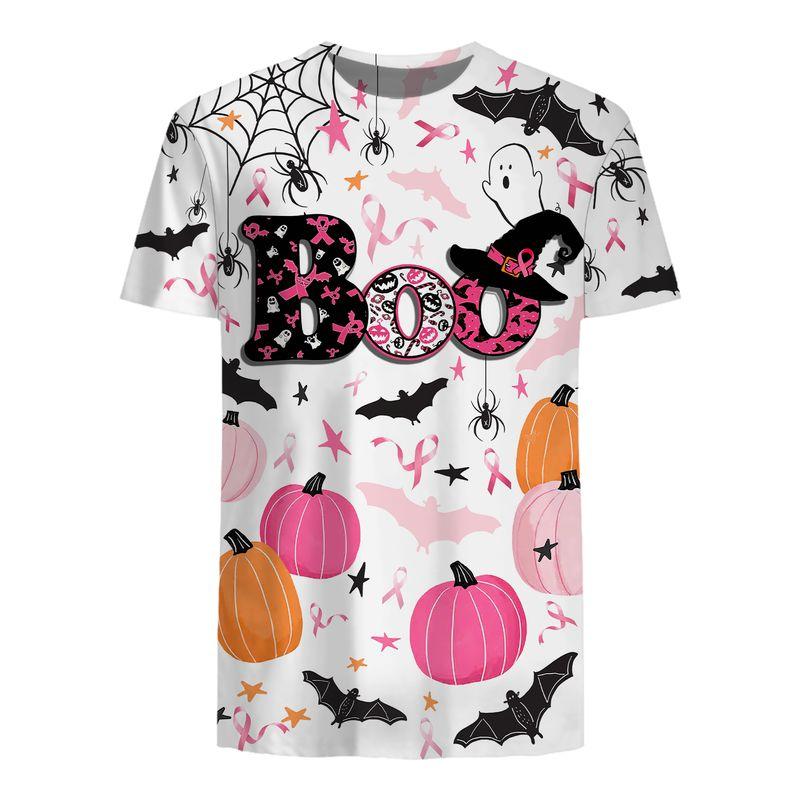 Breast Cancer Awareness Boos pumpkins Halloween 3d hoodie shirt 1