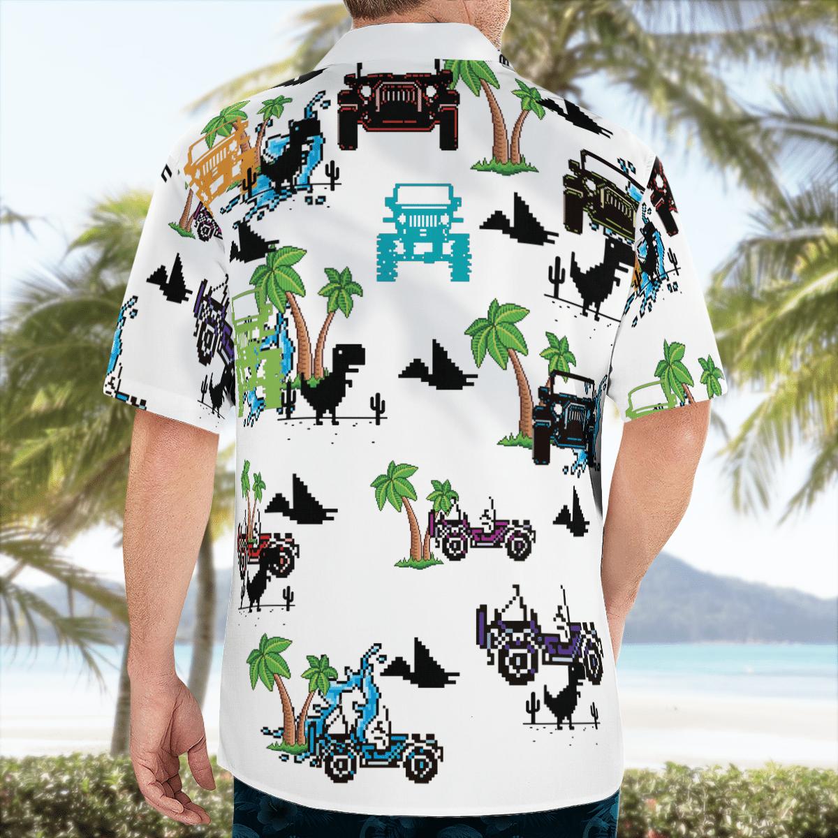 Dinosaurs and jeep in the beach Hawaiian shirt 1