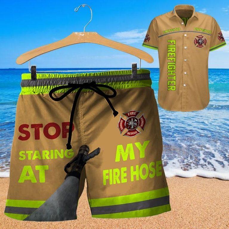 Firefighter stop staring at my fire hose Hawaiian shirt short