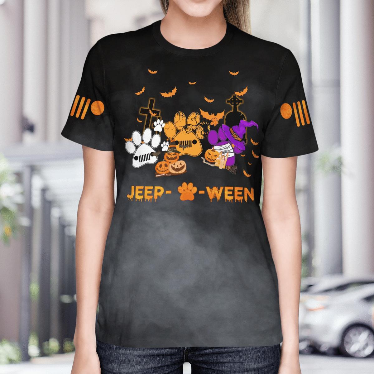 Halloween dog paw jeep 3d T shirt 3