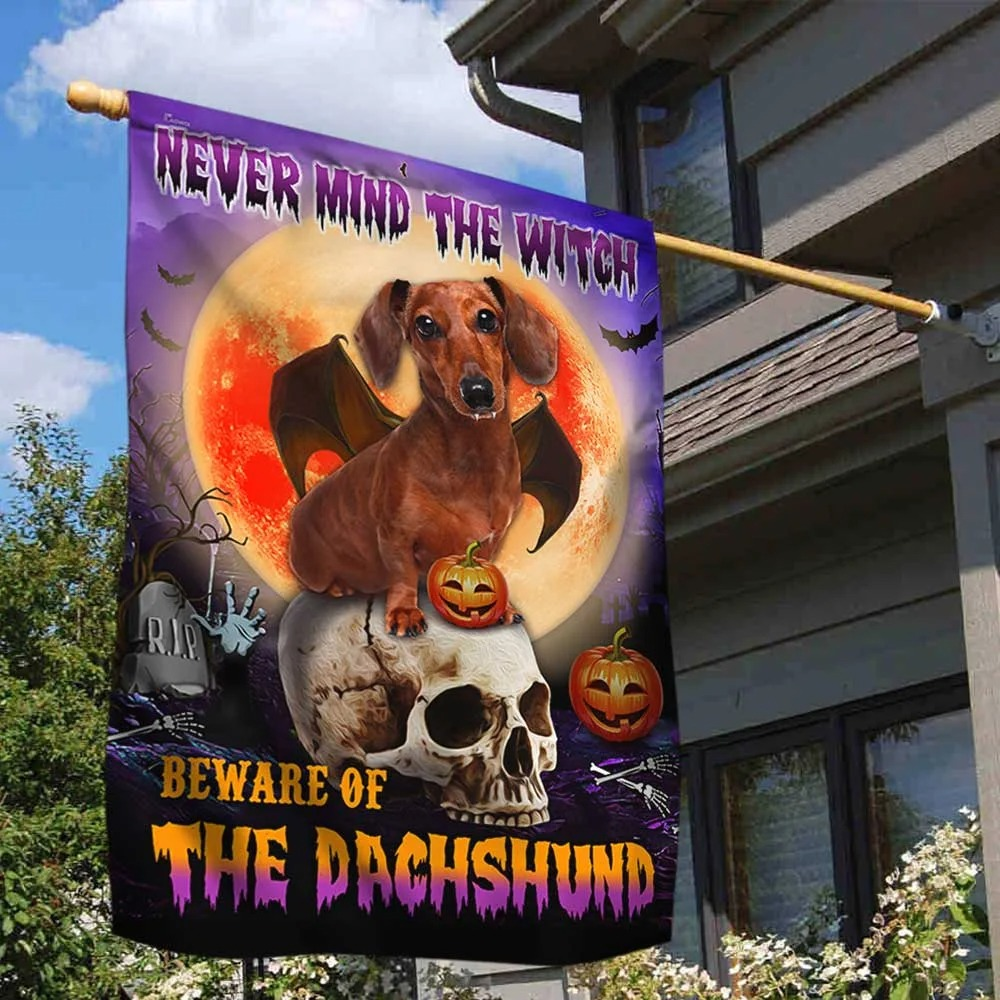 Halloween skull never mind the witch beware of the Dachshund flag 1