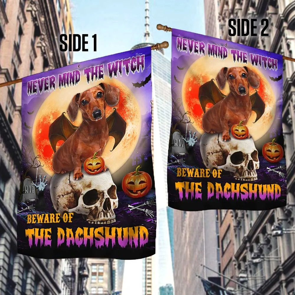Halloween skull never mind the witch beware of the Dachshund flag 2