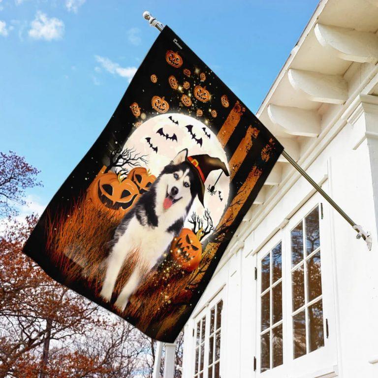Husky pumpkins Halloween flag 2