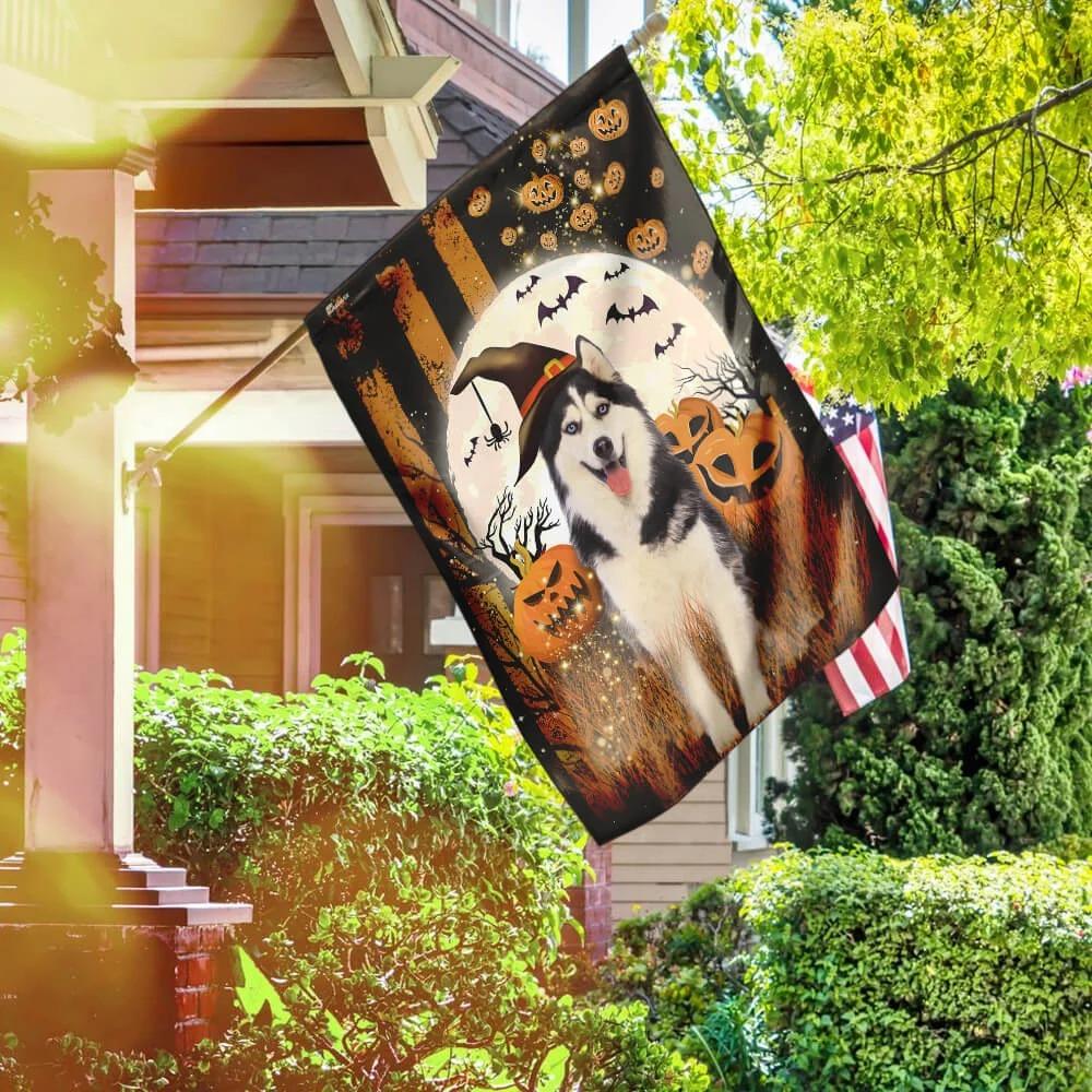 Husky pumpkins Halloween flag 4