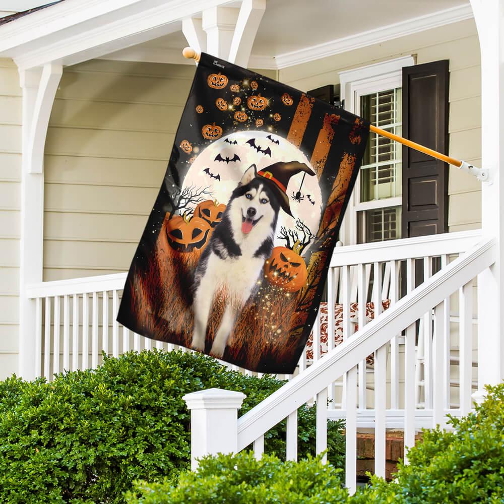 Husky pumpkins Halloween flag