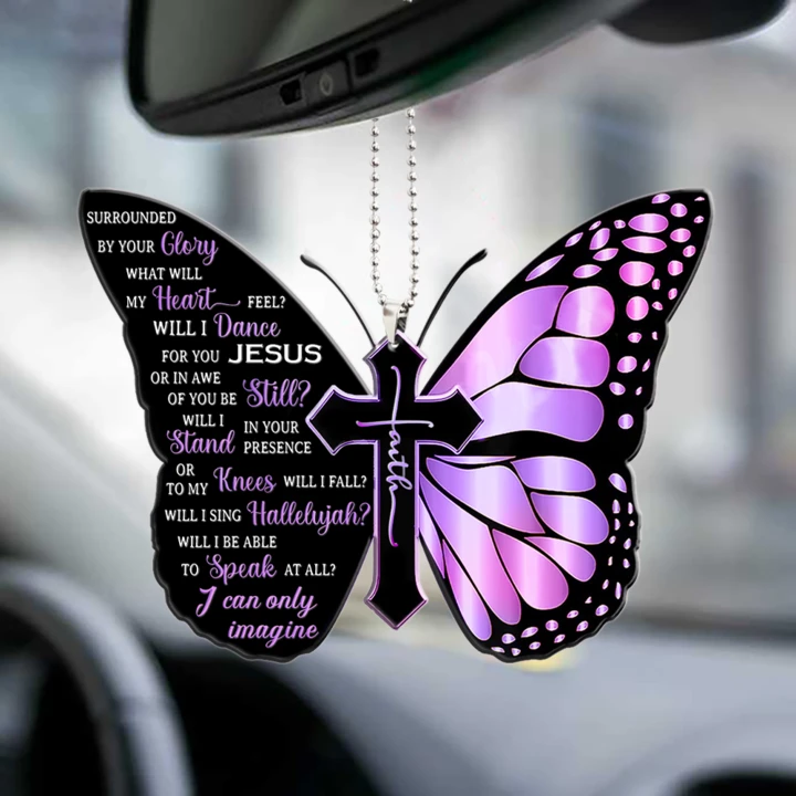 Jesus Cross Butterfly I can only Imagine car ornament 1