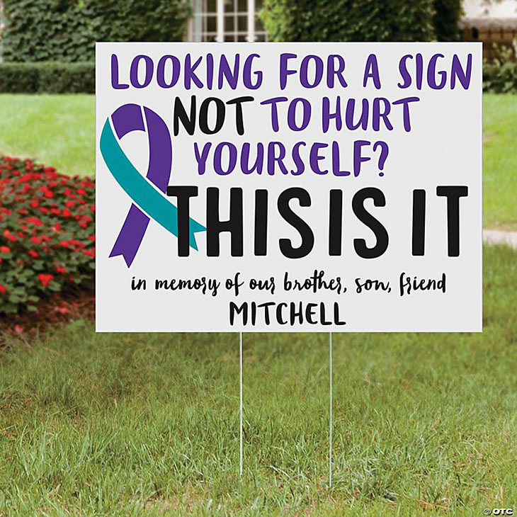 Looking for a sign not to hurt yourself custom personalized name yard sign
