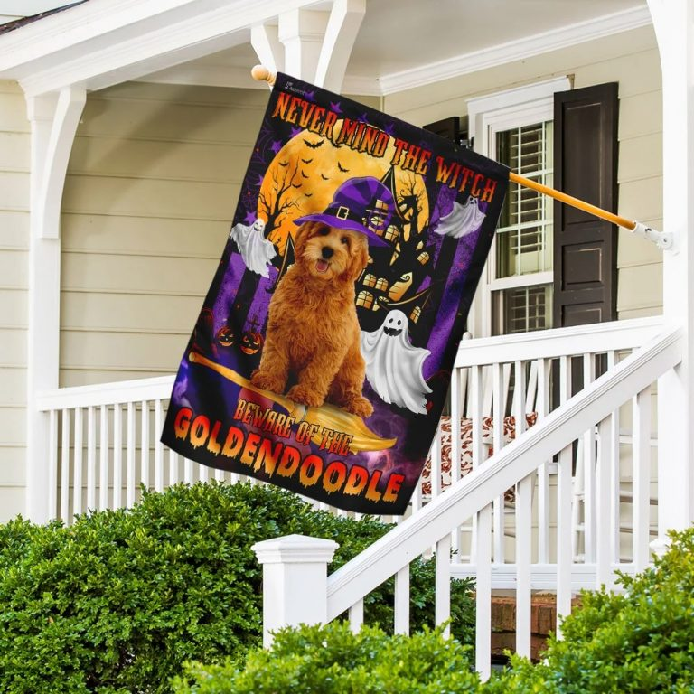 Never Mind The Witch Beware Of The Goldendoodle Halloween Flag 2