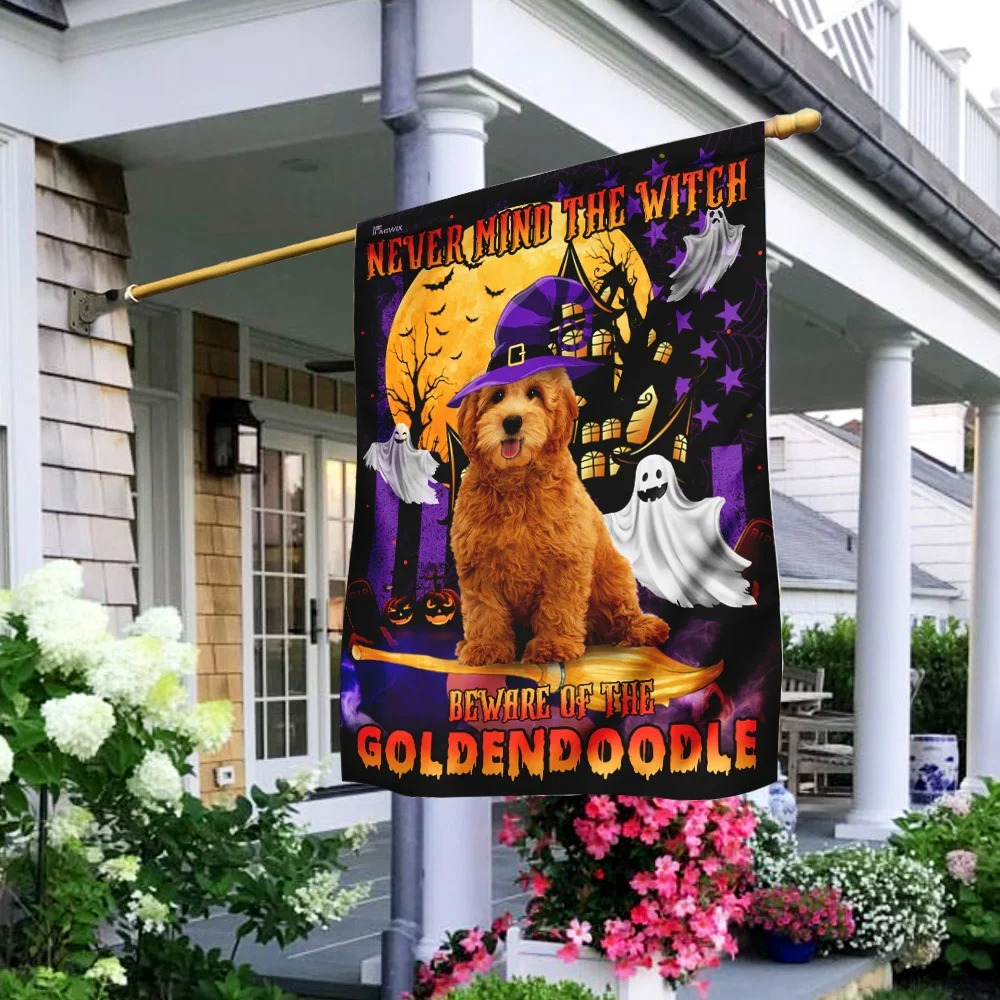 Never Mind The Witch Beware Of The Goldendoodle Halloween Flag 4