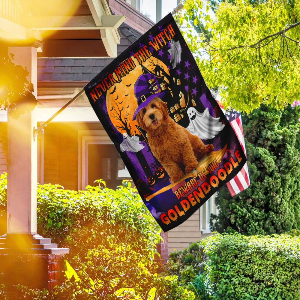 Never Mind The Witch Beware Of The Goldendoodle Halloween Flag