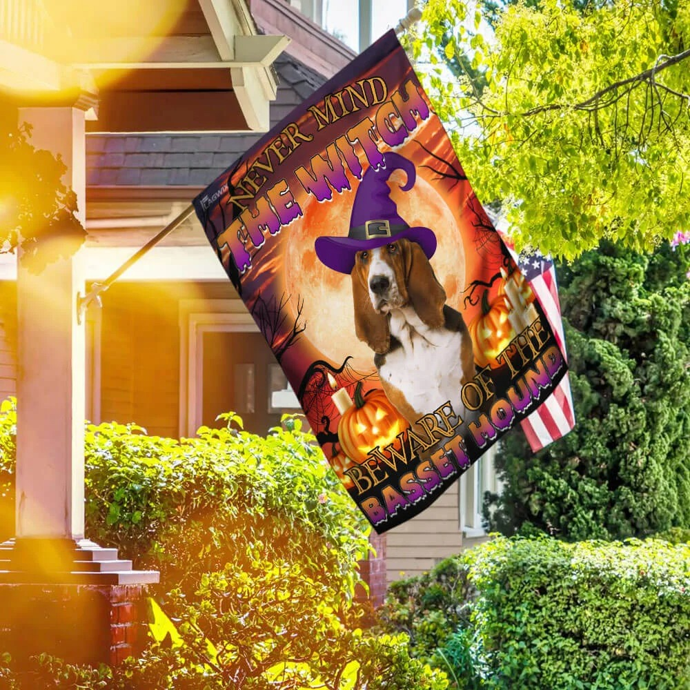 Never mind the witch beware of the basset hound Halloween flag 2