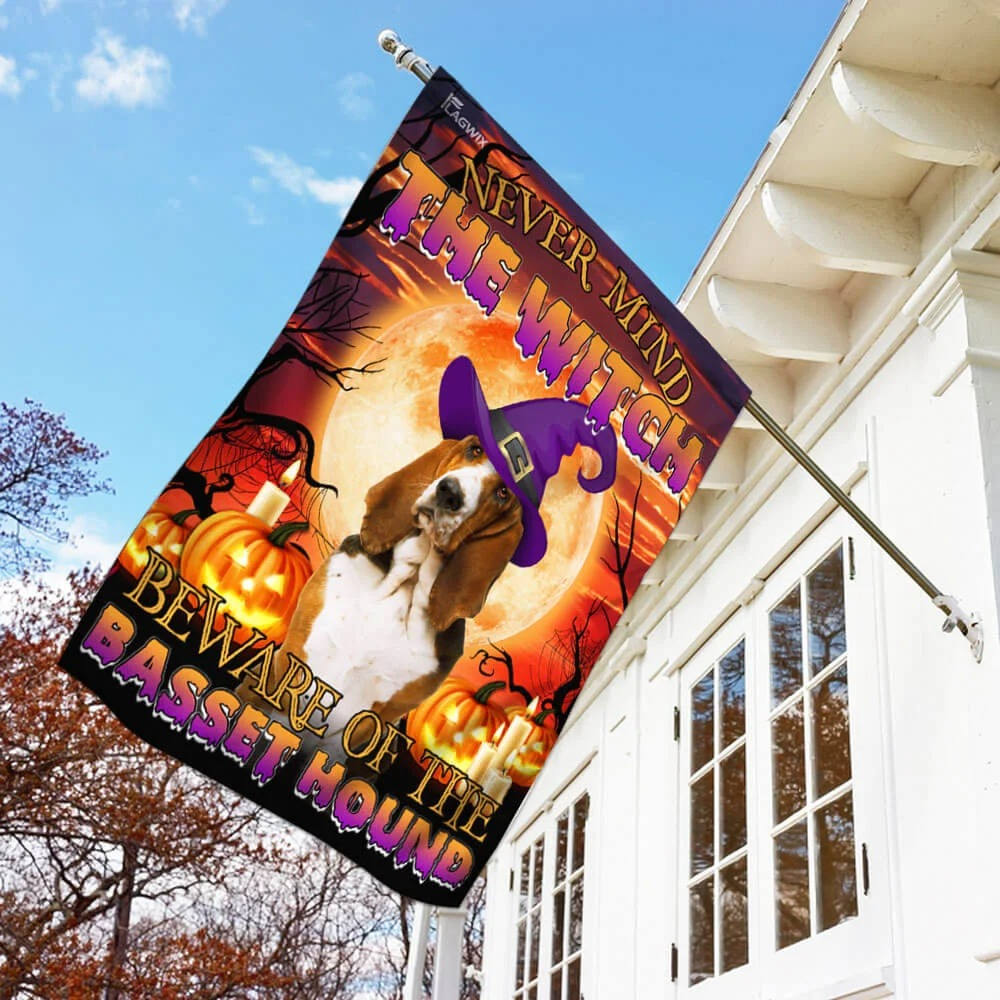 Never mind the witch beware of the basset hound Halloween flag 3
