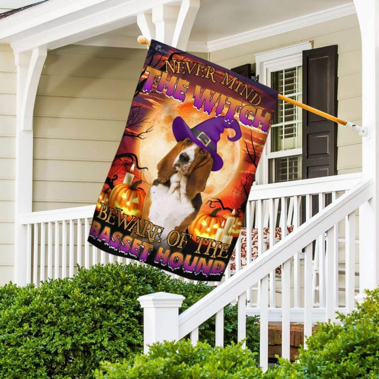 Never mind the witch beware of the basset hound Halloween flag 5